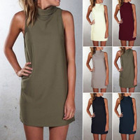 Plus Size Pure Color O-neck Sleeveless Short Dress