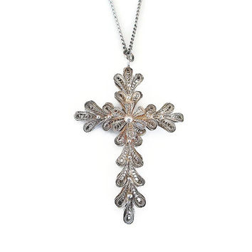 Silver Filigree Cross, Christian Cross, Portugal Jewelry, Religious Jewelry, Cross Pendant, Vintage Necklace