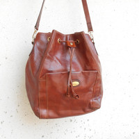 Vintage HILLY CREATIONS Chestnut Brown Leather Bucket Bag , Shoulder Bag / Medium / Made in Singapore