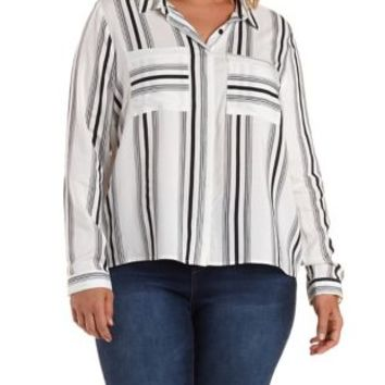 Plus Size Black Combo Striped Button-Up Top by Charlotte Russe
