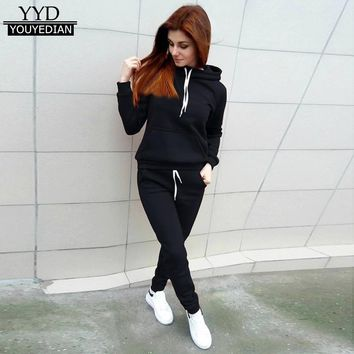2018 New Women Long Sleeve Sweatshirt And Pant 2 Piece Set Casual Autumn Spring Hoodie Top+ Pant Two-Piece Outfit For Women#1208