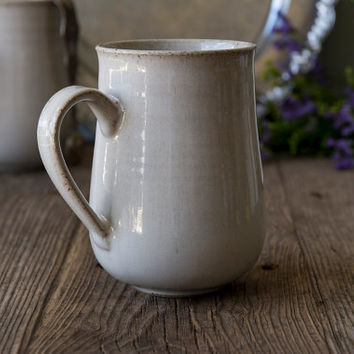 Large Ceramic Mug / Pottery Coffee Mug / 14oz / White Mug