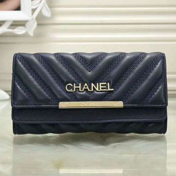 PEAPUF3 Chanel Women Fashion Multicolor Logo Shopping Leather Buckle Wallet Purse G-LLBPFSH