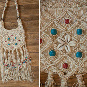 Crochet Macrame Fringe Purse - Patriotic Beaded 70s Hippie Long Fringe Festival Bag | 60s Boho Chic Gypsy Beach Crossbody Hobo Purse Satchel