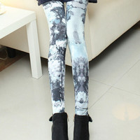 Gray Abstract Print Elastic Waist Leggings