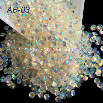 1000pcs package 2mm 3mm 4mm Jelly Transparent Crystal White Resin 3D AB Magic Color Rhinestone Phone Beauty Nail Art AB03