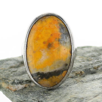 Bumble Bee Jasper Silver Ring. Size 6. Natural stone. Gemstone ring. Bumble Bee Jasper jewels. Bumble bee cabochon ring. Ring size L 1/2.