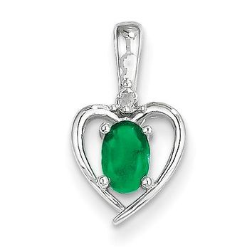 14k White Gold Genuine Oval Emerald and Diamond Heart Pendant