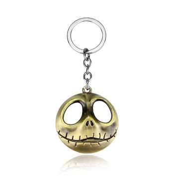 The Nightmare Before Christmas key chains keyrings Horror Movie  Pendant Keychain Big Eyes Skull Keychain Halloween gifts