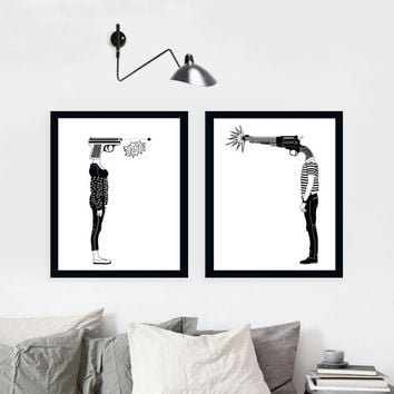 SALE - Set of 2 Prints, Wall Art Prints, Modern Decor, Black and White Prints, Wall Decor, Wall Prints, Home Decor.