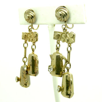 Vintage dangle earrings, Gift for her, Long dangle earrings, Screw Back earrings, Playful earrings, Clips earrings, Clip on dangle earrings