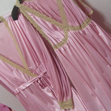 Long, Night Gown, Robe Set,  Roman Goddess, Pink, Beige Lace, Size Large, Vanity Fair, Honeymoon, Sexy Sleepwear, Resort Cruise Wear