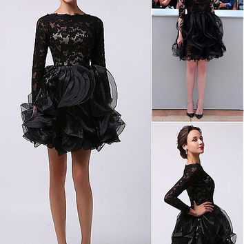 Black Lace Cute Long Sleeves Short Prom Cocktail Dresses Mini Ruffles High Neck A-line Cocktail Dresses Robe De Cocktail
