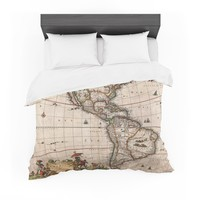 "Bruce Stanfield ""Vintage Map Of The America's "" Brown Green Featherweight Duvet Cover"