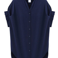 Dark Blue V-Neck Chiffon Blouse