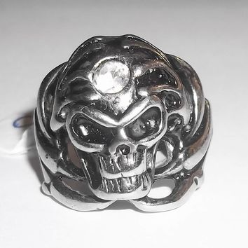 Skull in Dragon Claw Zirconia Biker Goth Fantasy Pagan Stainless Steel Ring (size 10)