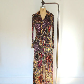 Vintage Disco Jumpsuit / 1970s Pantsuit / Abstract 70s Floral Print / Size Small 4 6
