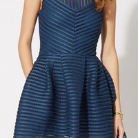 Navy Sleeveless Striped Shirtwaist Mini Skater Dress