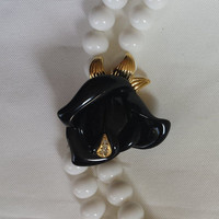 vintage white bead necklace with black rose
