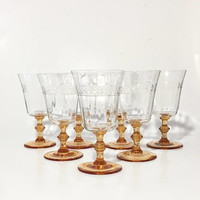Crystal Goblets with Amber Stem, Set of 7 Crystal Stemware, Elegant Glass, Etched Goblets