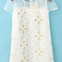 Floral Crocheted Organza Dress - OASAP.com