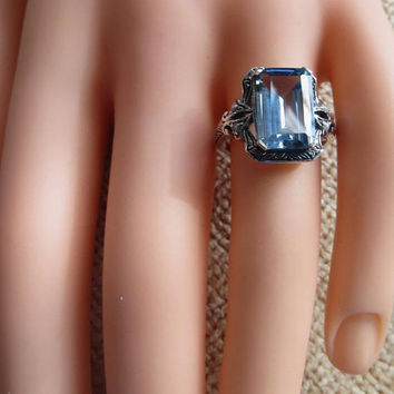 Sterling Aquamarine Ring, Emerald Cut, Pearl Accents, March Birthstone, Aquamarine Jewelry, Engagement Ring, Promise Ring, Size 6.5
