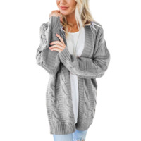 Solid Color Cardigan Knit Sweater Coat