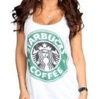 Starbucks White Color T-Shirt Logo I (Medium)