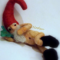 Needle felted naked naughty Gnome (MATURE) the nekked gnome / MADE to ORDER