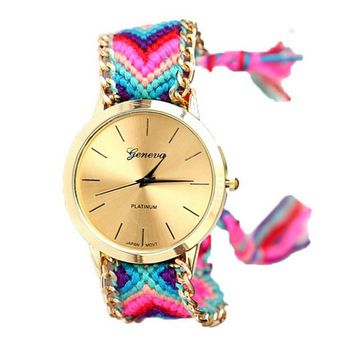 Women's Knitted Braided Watch Weaved Rope Band Bracelet Quartz Wrist +Gift VB Box