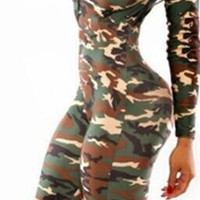 Camouflage Deep V-neck Long Sleeve Slim Long Jumpsuit