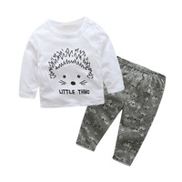 2 Pcs/Set Infant Toddler Clothes Outfits Sets Baby Boy Girls Casual Long Sleeve T-shirt +Pants Kids Clothing Sets