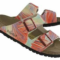 Birkenstock Womens Arizona brush art orange 2 strap sandals 362963