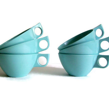 Mid Century, Melamine Coffee Cups, Melmac, Turquoise, Set of 6, Retro Plastic, Mid Century Kitchen, Vintage Kitchen