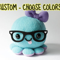 Custom Octopus Plush Toy  Choose colors and by cheekandstitch