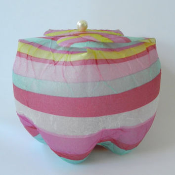 "Pop Box - ""Candy Stripes"" - made out of upcycled plastic bottles - to use as gift or jewelry box or as candle holder - Cola Flasche"