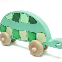 Turtle Push Toy - Green Push Toy - Children's Toy - Turtle Toy