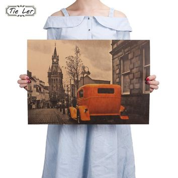 Yellow Vintage Car London Street Poster Kraft Paper Bar Poster Retro Poster Decorative Painting Wall Stickers 51.5X36cm