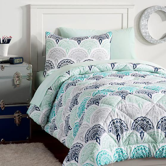 Feather scallop deluxe value comforter from pbteen college - Cute teenage girl bedding sets ...