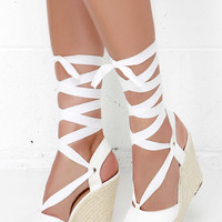 Ankles Aweigh White Espadrille Leg Wrap Wedges