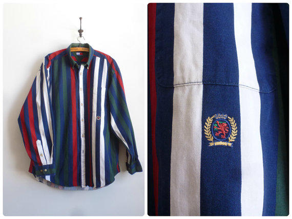 08003149 Tommy Hilfiger Color Block Shirt - 90s from thatwasagoodyear on