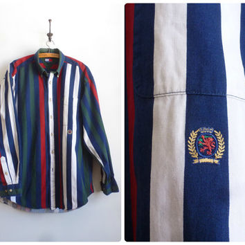 Tommy Hilfiger Color Block Shirt - 90s Tommy Hilfiger Striped Shirt - Large Mens Shirt