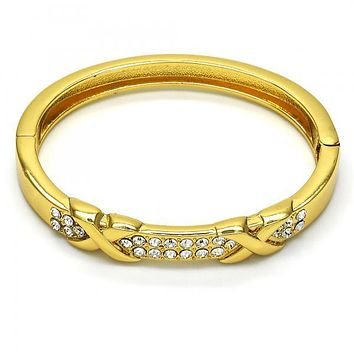 Gold Layered 07.252.0038.05 Individual Bangle, with White Crystal, Polished Finish, Golden Tone (08 MM Thickness, Size 5 - 2.50 Diameter)
