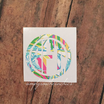 Lilly Pulitzer Monogram - Lilly Monogram Decal - Lilly Auto Monogram - Lilly Laptop Monogram - Lilly Binder Monogram - Lilly Sticker