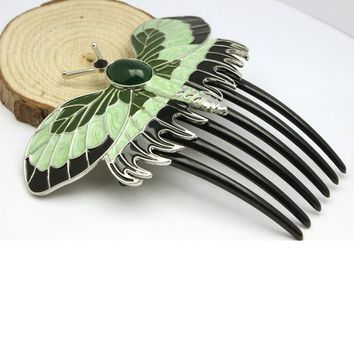 Luna Moth Enamel Decorative Comb