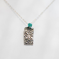Fine Silver Victorian Square Pendant - Modern Antique Necklace - Recycled Eco Silver