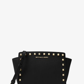 Selma Medium Studded Leather Messenger | Michael Kors