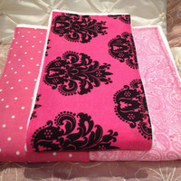 Baby Girl Burp Cloth Set of 3 Boutique Style 6-ply Damask Girly Pink Polka Dots Damask Paisley Shower Gift Christmas Monogrammable
