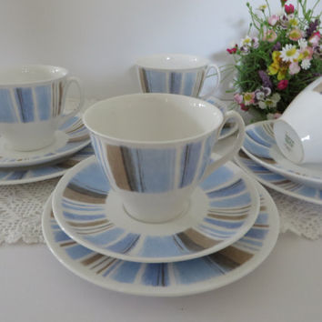 Shelley Vintage 1940's Aegean pattern tea trio