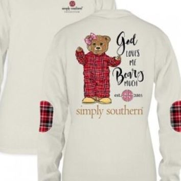 """Simply Southern """"Beary Much"""" Long Sleeve Tee-Cream"""